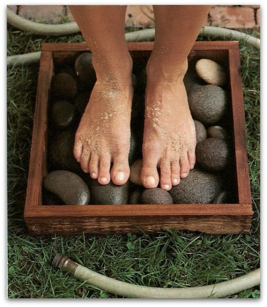 Backyard Hacks: rinse off your feet in a waterproof box filled with flat stones. Get your feet nice and clean and THEN come in the house