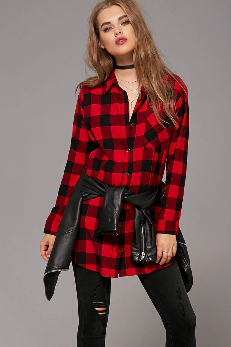 A woven plaid flannel shirt dress with a mini length, a buttoned front, a basic collar, button-cuff long sleeves, a curved hem, and a chest patch pocket.