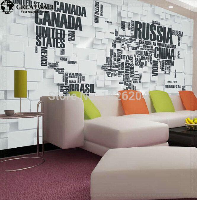 Barato Grande parede 3D mapa do mundo papel de parede murais para sala de estar sala de escritório 3D papel de parede mapa mundi 3D papel de parede, Compro Qualidade Papéis de parede diretamente de fornecedores da China: Grande parede 3D mapa do mundo papel de parede murais para sala de estar sala de escritório 3D papel de parede mapa mundi 3D papel de parede