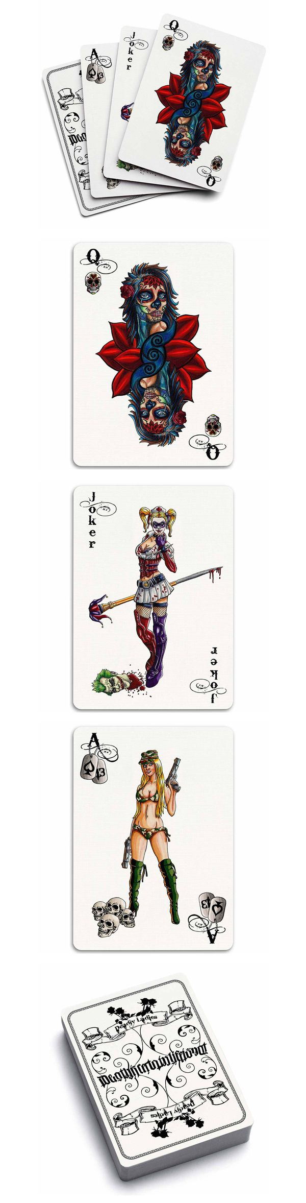 "DEADLY LADIES CARD SERIES - Deadly ladies card series that features an ace of spades card aka the death card, a day of the dead themed queen of hearts card, a joker card of The Jokers sidekick Harley killing him and an ambigram on the reverse of the cards that says ""Death is Certain Life is Not"". See more at http://www.markmetcalfe.co.za/"