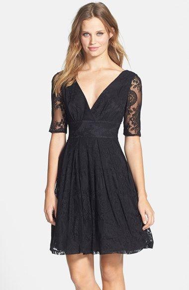 Betsey Johnson V Neck Lace Fit Flare Dress Nordstrom Fashion