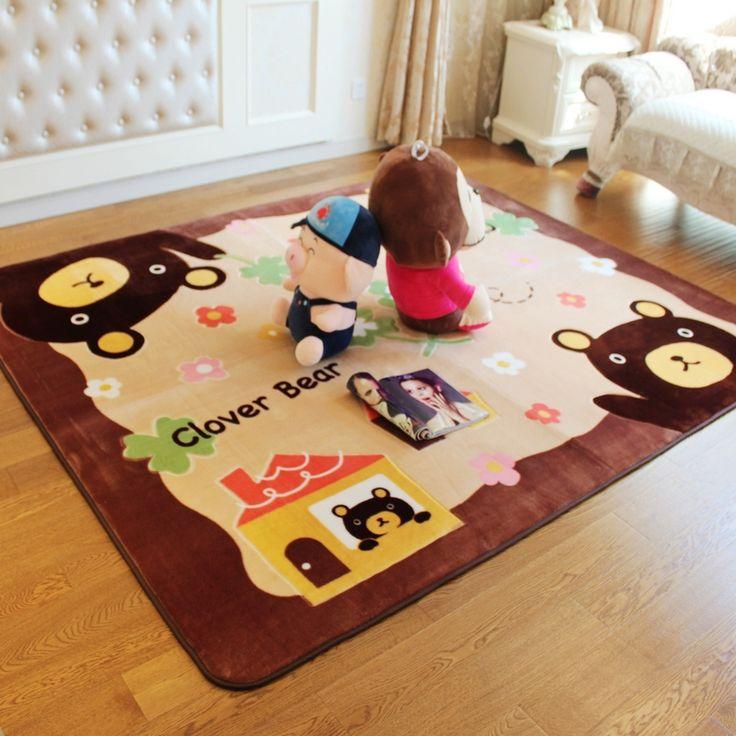 Cartoon Brown Bear Baby Room Carpet Play Mat Soft Baby Crawling Mats Living Room Bedroom Floor Mat Kids Rug Children's Rug