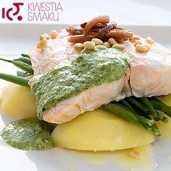 Łosoś gotowany na parze z pesto z rukoli. Lekkie i bardzo smaczne danie z naczynia do gotowania na parze. Pesto z rukoli świetnie pasuje zarówno do łososia jak i do ugotowanych na parze młodych ziemniaków.