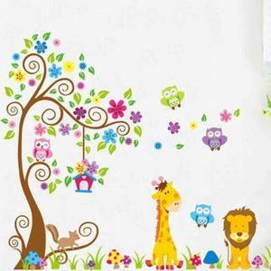 Dessin animé girafe Lion hibou arbre modèle enfants Kids pépinière chambre décoration bricolage PVC Wall Stickers papier peint BRICOLAGE décoration merveilleuse pour votre chambre, garderie, salle de bains enfants, bureau, dortoir, stocker et ainsi
