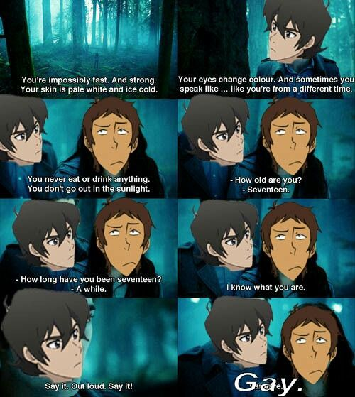 "Keith: ""I'm galr-"" Lance: ""-gay"" Keith: ""Lance wtf"""