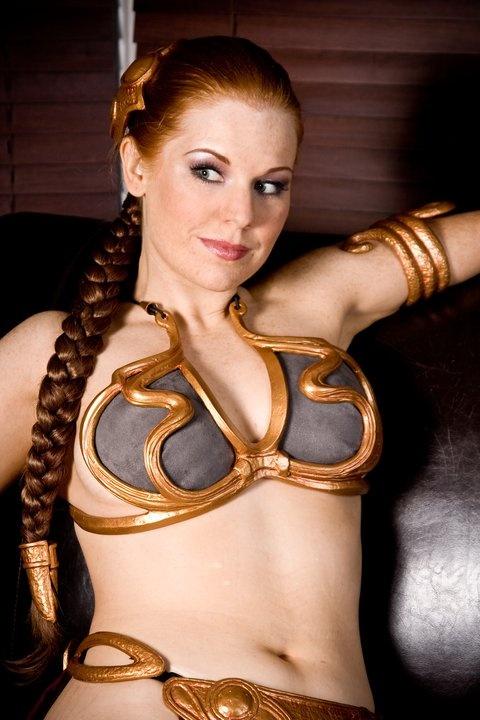 Princess leia slave cosplay with