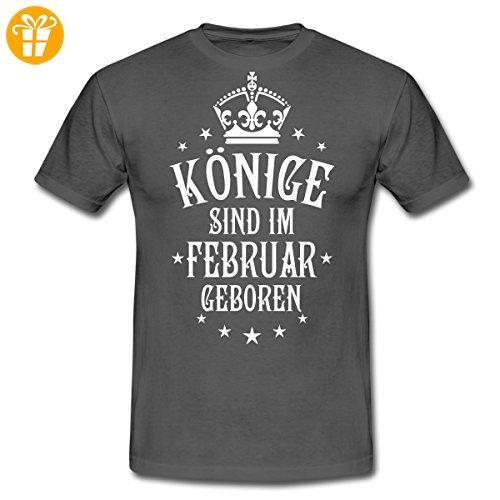 Geburtstag Könige Im Februar Geboren Spruch Männer T-Shirt von Spreadshirt®, XL, Graphite - Shirts mit spruch (*Partner-Link)