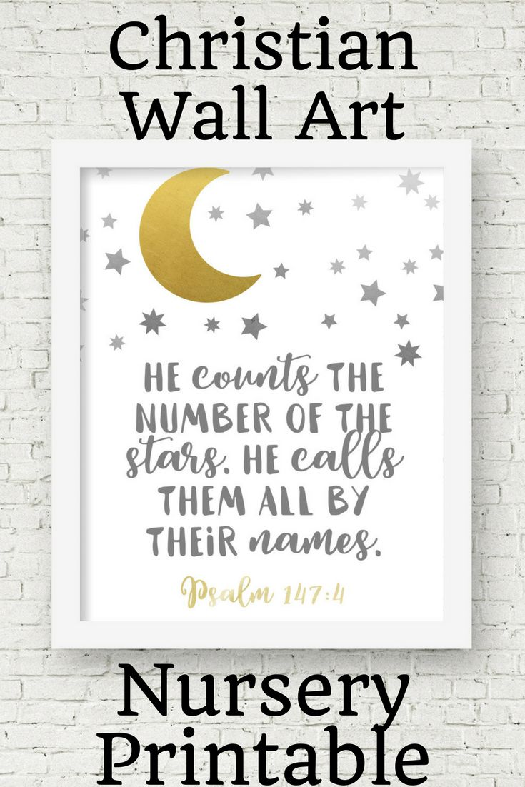 This moon and stars wall art is a great Christian print for your neutral nursery décor. Help your baby learn Scripture from birth. This printable would also make a great baby shower gift.