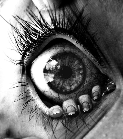"""Let me out!"" eyes, fantasy art, beautiful, surreal, fingers, fear, horror, detail, black and white, art."