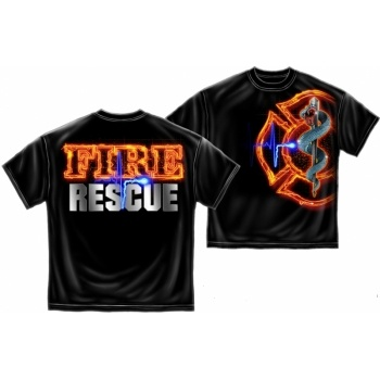 Black Fire Rescue Firefighter Tshirt, Firefighter Apparel by Firefighter.com