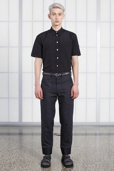 s/s 13/14 mens key looks - M10. slim fit shirt in nero, cropped workwear trouser in charcoal, 20mm belt in pewter.