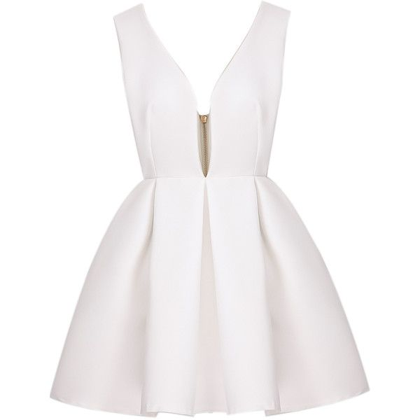 White Sexy Polyester V neck Sleeveless Flare Short Zip Plain Dresses, Sleeve Length: Sleeveless Style: Sexy Decoration: Zip Length(cm): S:80cm, M:81cm, L:82cm …