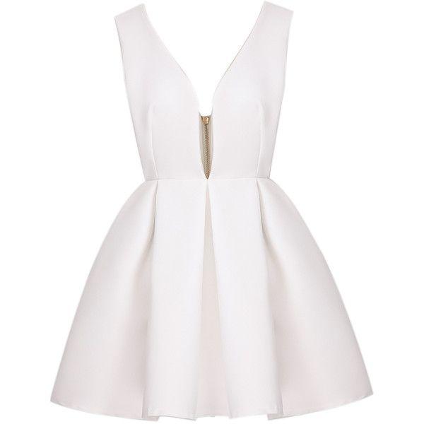 White Sexy Polyester V neck Sleeveless Flare Short Zip Plain Dresses, Sleeve Length: Sleeveless Style: Sexy Decoration: Zip Length(cm): S:80cm, M:81cm, L:82cm …