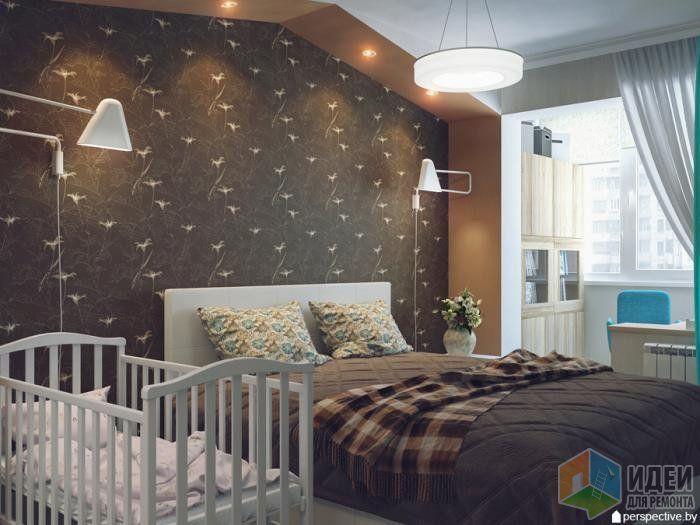 Дизайн спальни, кровать в спальне, место для младенца, интерьер спальни фото, шторы в спальне