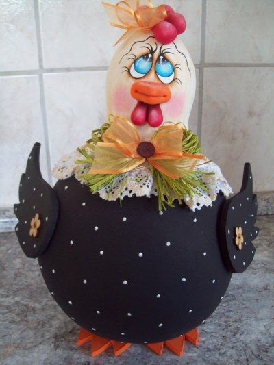 Blog de carlatenorio :artesanato, Galinha de cabaça