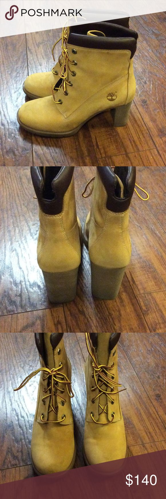 Timberland Heel Boots Super cute Timberland Heel Boots. Boots are in good condition. They have a few minor marks. Timberland Shoes