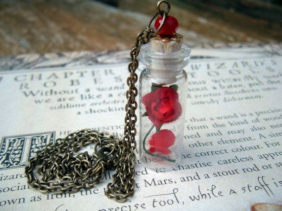 Enchanted Rose Beauty and the Beast Glass Vial by TheSpiralGoddess, $16.00