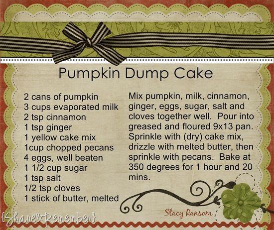 Pumpkin Dump Cake by Share & Remember  Thanksgiving dessert!!