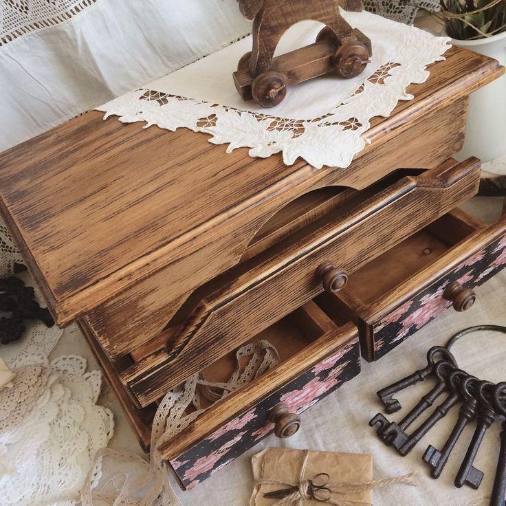 """Купить Интерьерный деревянный комод """" Ситец"""" - мини-комод, комодик для украшений, комод декупаж"""