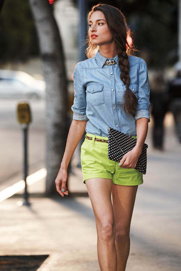 Bright shorts with a denim shirt