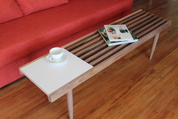 Mid Century Modern Solid Walnut Slat Coffee Table / Bench  This is a classic mid century modern design with a small vinyl table top section.