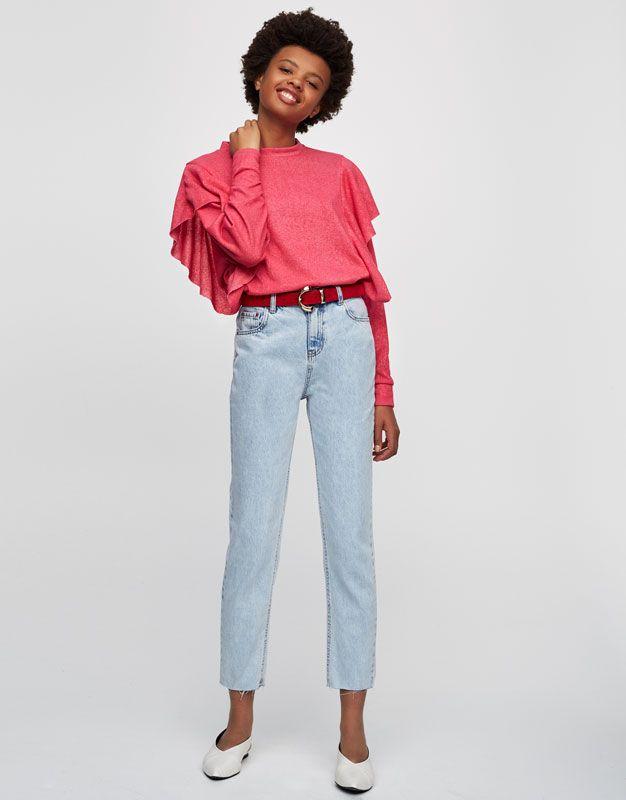 Calças de ganga mom fit - Mom fit - Jeans - Denim - HIDDEN - PULL&BEAR Portugal