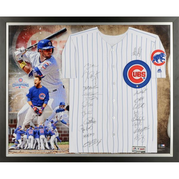Chicago Cubs Fanatics Authentic 2016 MLB World Series Champions Framed Team Signed Majestic Authentic World Series Jersey Collage with 20 Signatures - Limited Edition of 200 - $4599.99