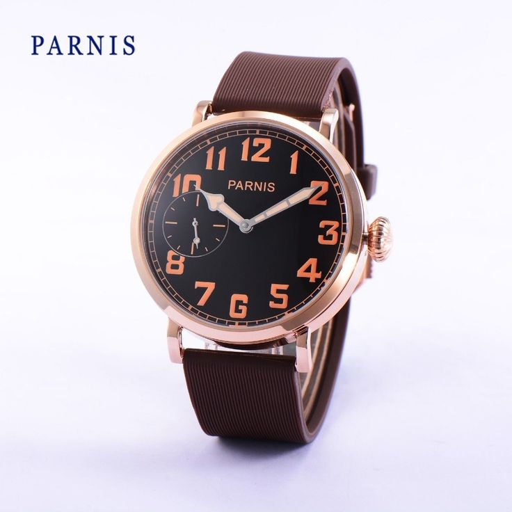 112.00$  Watch here - http://alir12.worldwells.pw/go.php?t=32777338785 - 46mm Parnis Mechanical Wristwatch Rose Gold Stainless Steel Case Black Dial Orange Numbers Hand-Winding Men's Watch