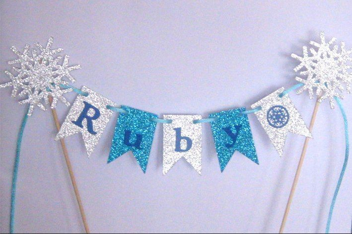 Any Name personalised Cake Bunting -Flags, Garland, Glitter for FROZEN PARTY