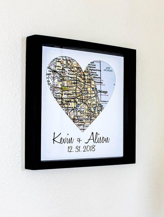 Personalisierte Karte Kunst Geschenk Herz Karte Kunst Gerahmt