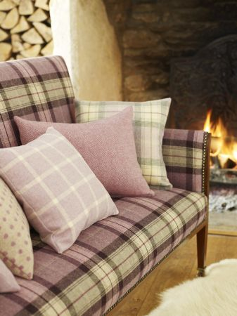 Prestigious Textiles -  Isles Of Skye Fabric Collection - Purple and white tartan upholstery with plaid, plain and spotted cushions for a country house