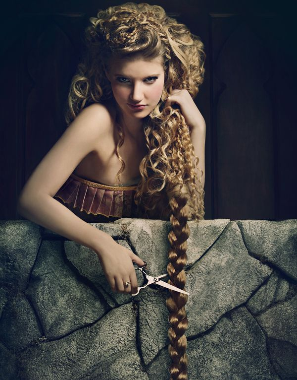 "Rapunzel -- ""The tall blonde lets out a cry of despair says  Would have cut it myself if I knew men could climb hair"" (""Fairytale"" by Sara Bareilles)"