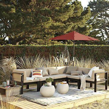 patio: Outdoor Seats, Outdoor Rugs, Outdoor Furniture, Outdoor Patio, Outdoor Living Rooms, Beaches Houses, Outdoor Spaces, Wood Slats, West Elm