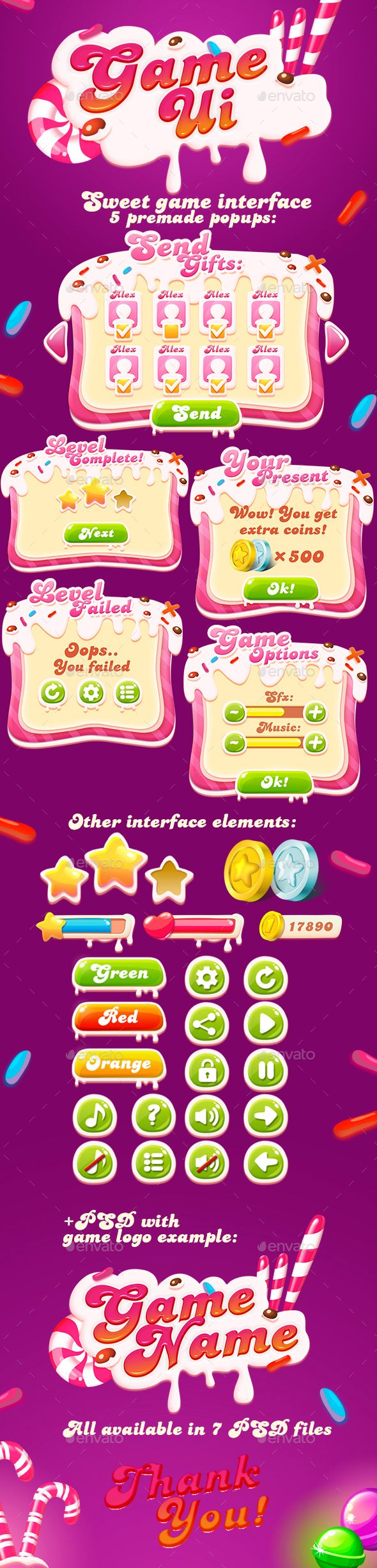 Sweet GUI + Game Logo PSD. Download here: https://graphicriver.net/item/sweet-gui-game-logo/13950269?ref=ksioks