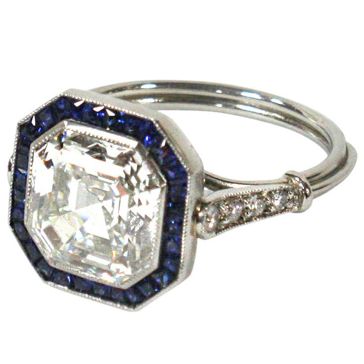 Art Deco Asscher Cut Diamond and Sapphire Engagement Ring French-1920s