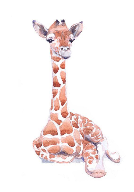 Baby Giraffe Art Watercolor Painting Baby Prints Boy Girl