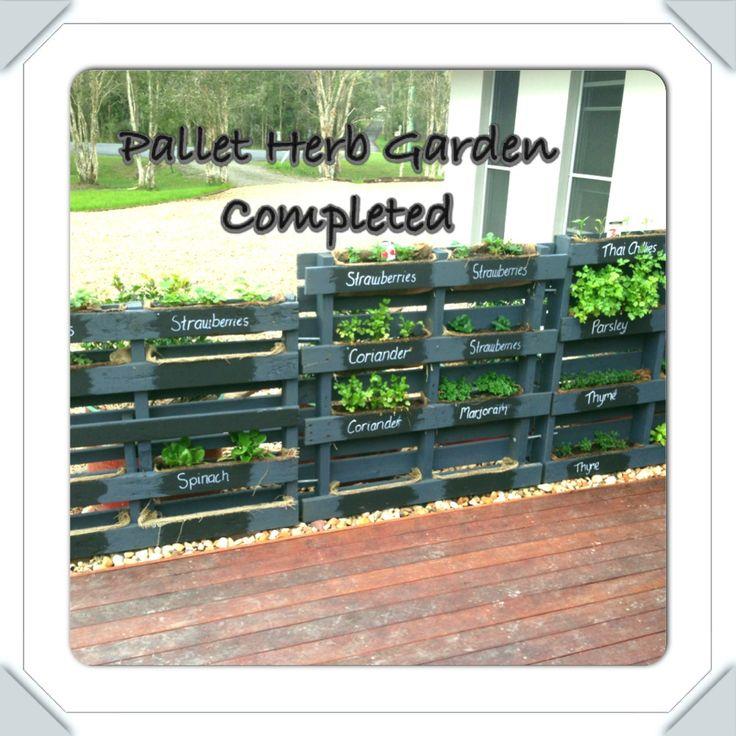 Pallet Herb Garden Completed