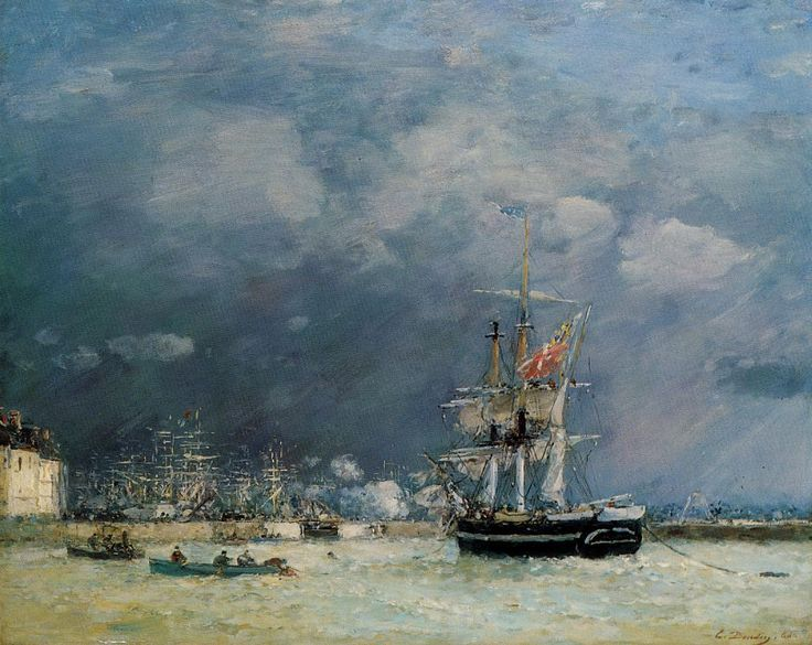 Port du Havre in the Evening 1866 | Eugene Louis Boudin | Oil Painting