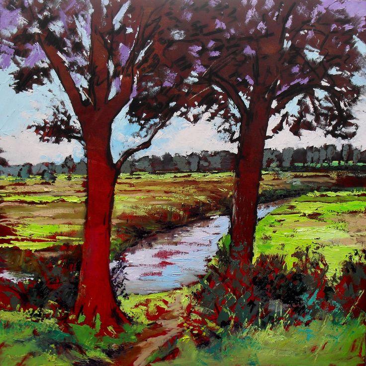 Rode bomen Drentse Aa olieverf op doek 80 x 80 cm