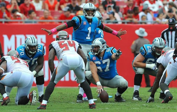 Carolina Panthers quarterback Cam Newton smiles as he stands over the line prior to the snap vs the Tampa Bay Buccaneers during second quarter action on Sunday, October 4, 2015 at Raymond James Stadium in Tampa, Fl. The Panthers defeated the Buccaneers 37-23.