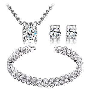 P&M – Princesse des neiges Parure pour femme en plaqué or blanc: Tweet ★Le cadeau romantique parfait, et un bijou véritablement essentiel…