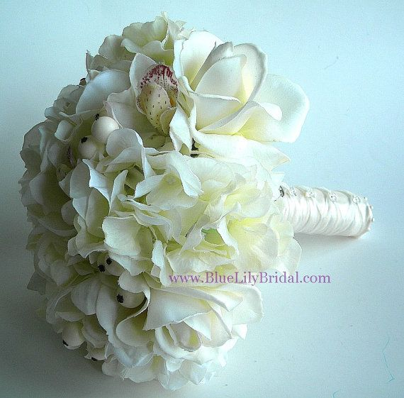 Ivory Real Touch Rose and Orchid Bridal Bouquet by BlueLilyBridal, $172.00