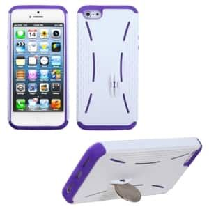 Insten Ivory / Purple Quarter Stand Phone Case for Apple iPhone 5 / 5S / SE
