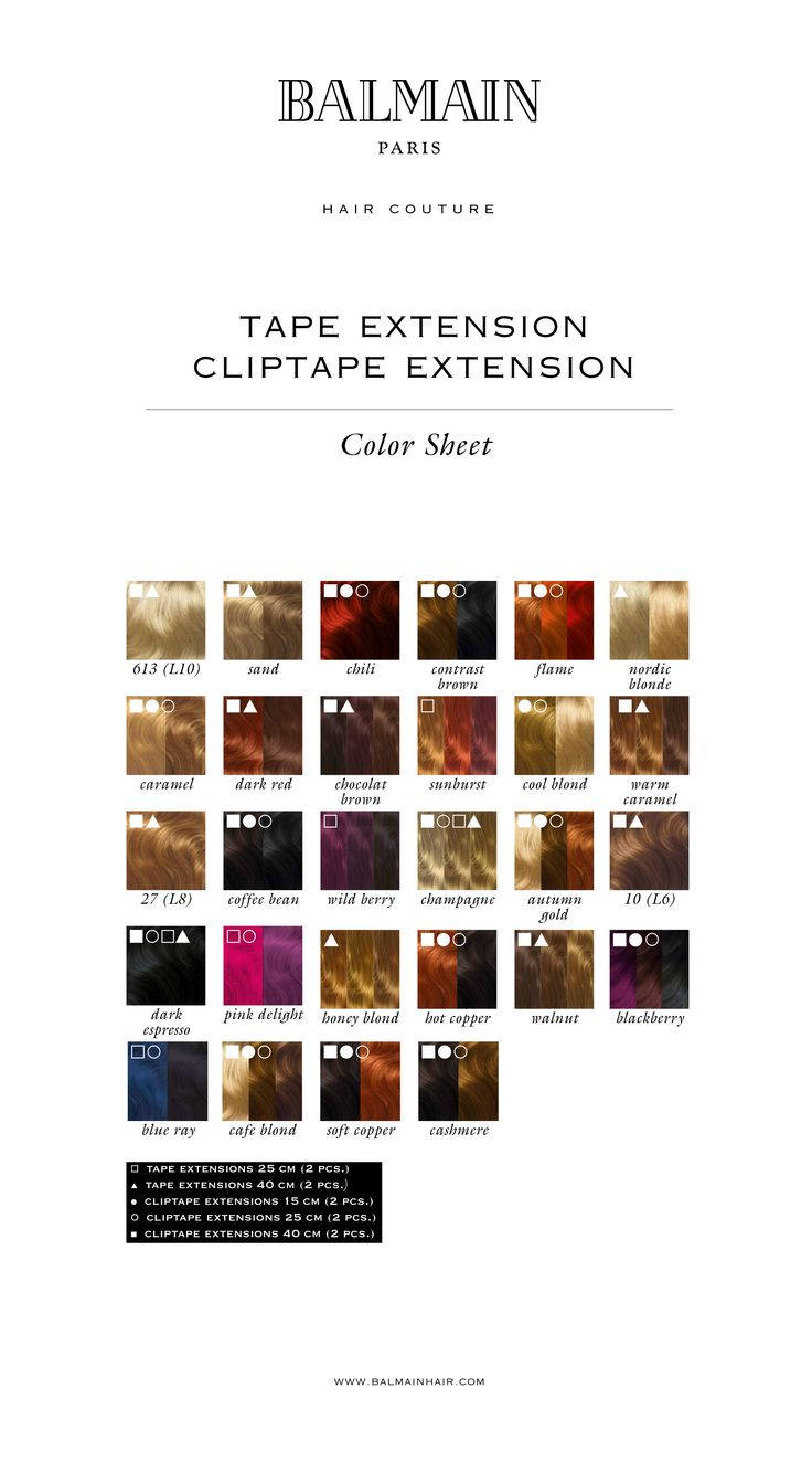 69 best hair color charts images on pinterest hair dos hair balmain color overview tape extensions cliptape extensions nvjuhfo Choice Image