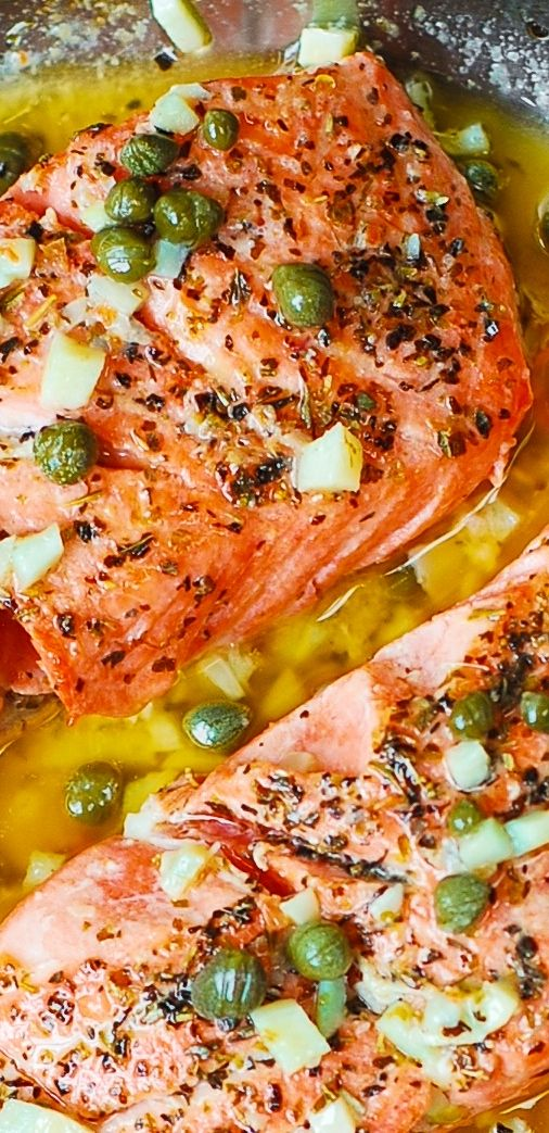 Steelhead Trout (or Salmon) with Caper-Garlic Lemon Butter Sauce - healthy, low-carb, gluten free dinner rich in lean protein and omega-3 fatty acids.