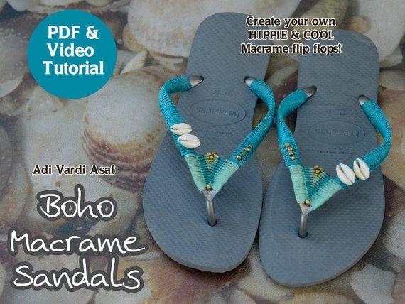Macrame Flip Flops Pattern Birthday Gift Diy Macrame Tutorial Boho