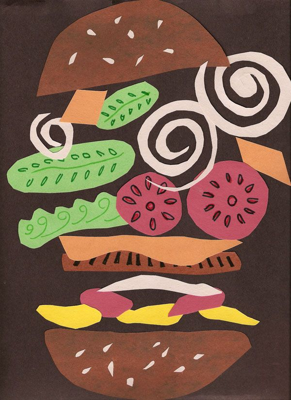 Hamburger collage. Possibly a good Matisse, cutting with scissors, lesson plan.
