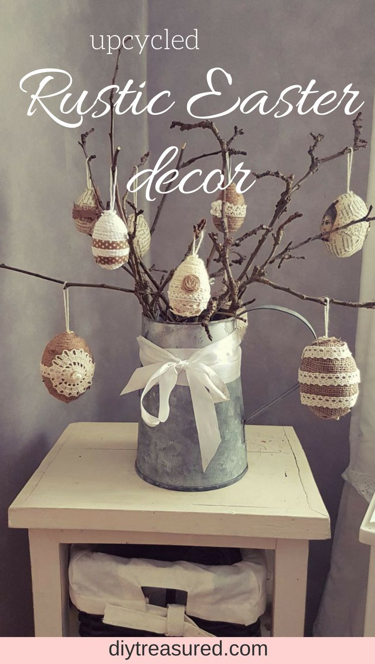 Have to try this! Make your own rustic Easter decor!  Upcycle those plastic and styrofoam eggs into unique farmhouse and shabby style decorations.  #easter #rustic #shabbychic #farmhouse   | diy | craft | upcycle | repurpose | Easter egg decor | jute twine | lace | ribbon | craft idea | decor on a budget