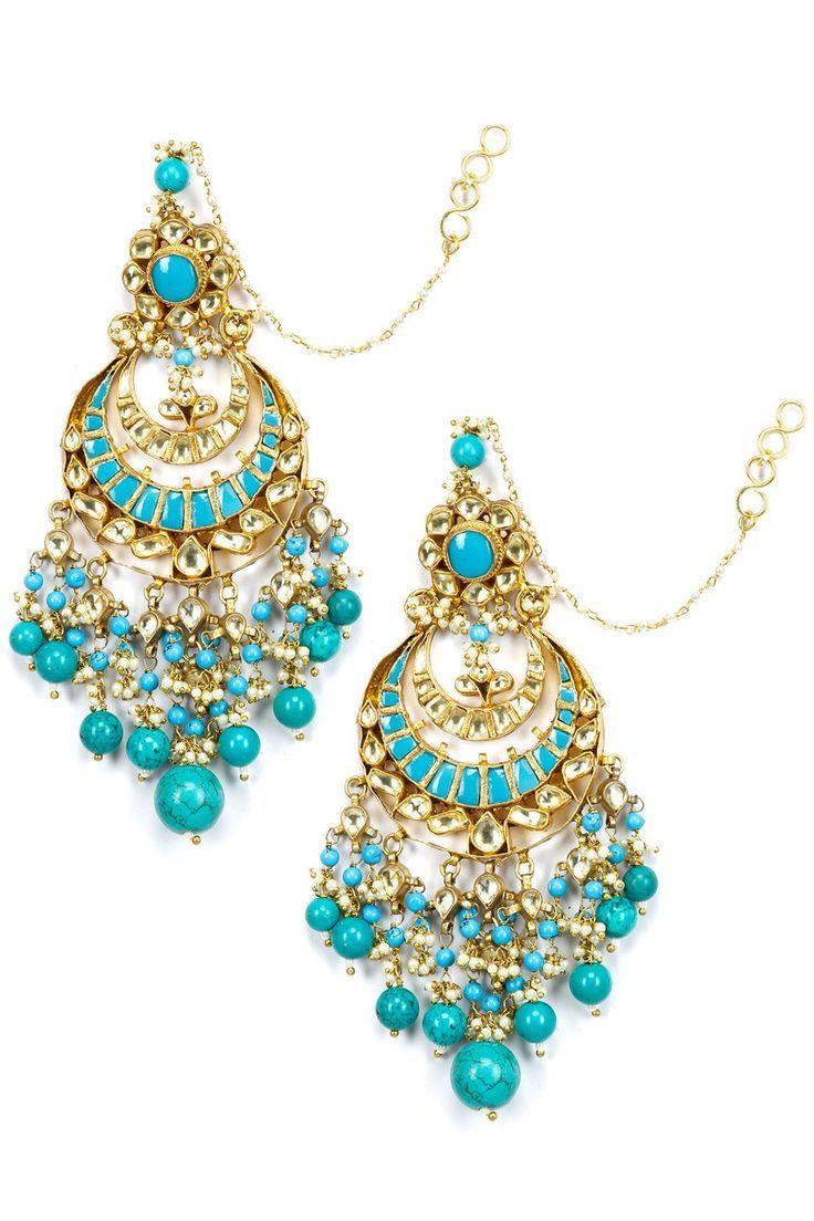 Art Karat Designer Jewellery Online Golden Ruby String Earrings - jewelry, costume, leather, bridal, turquoise, paper jewellery *ad