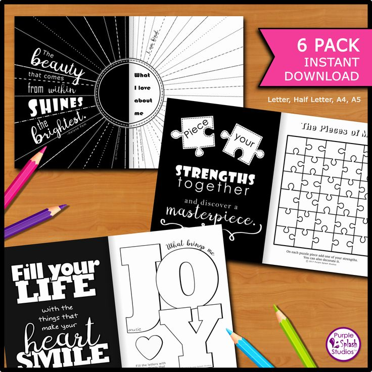 Self-Discovery Printable Journal 6 Pack with creative activities, thoughtful prompts & inspiring quotes for writing, drawing, coloring…(Letter,Half Letter,A4,A5). Add to journals, bullet grid journals, diaries, folders,... or display in your home or office. For adults, teens or kids.